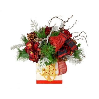 Red Silk Hydrangea and Pine Gift Bag