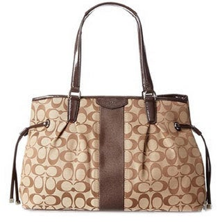 Coach Khaki and Brown Signature Stripe Drawstring Carryall
