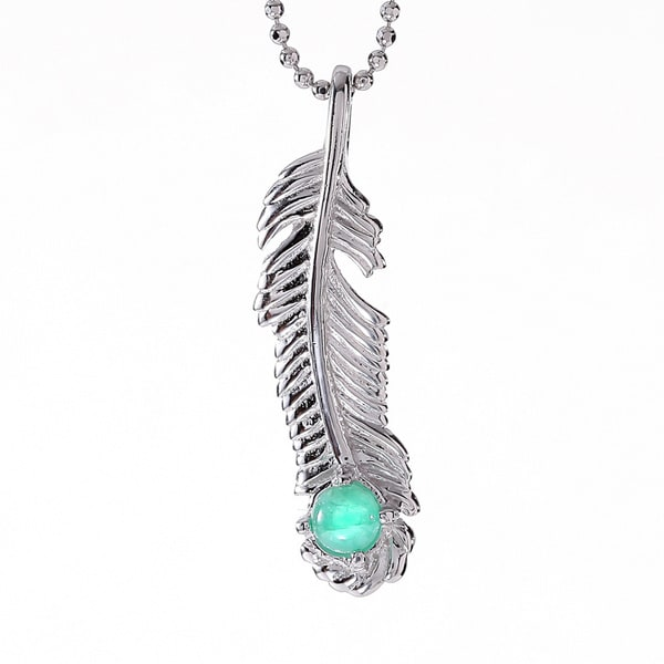 Rhodium-plated Sterling Silver Emerald May Birthstone Feather Necklace