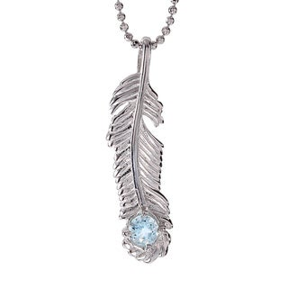 Rhodium-plated Sterling Silver Aquamarine March Birthstone Feather Necklace