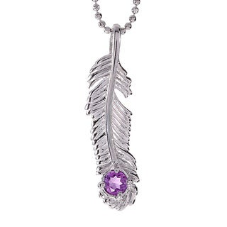 Rhodium-plated Sterling Silver Amethyst February Birthstone Feather Necklace