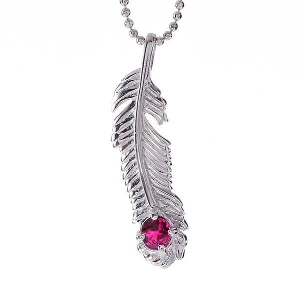 Rhodium-plated Sterling Silver Rhodolite Garnet January Birthstone Feather Necklace