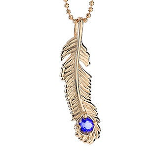 18k Gold-plated Sterling Silver Iolite September Birthstone Feather Necklace