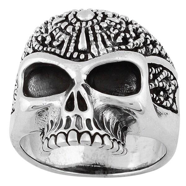 HellFire Sterling Silver Road Knight Skull Ring