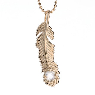 18k Gold-plated Sterling Silver Clear Quartz April Birthstone Feather Necklace