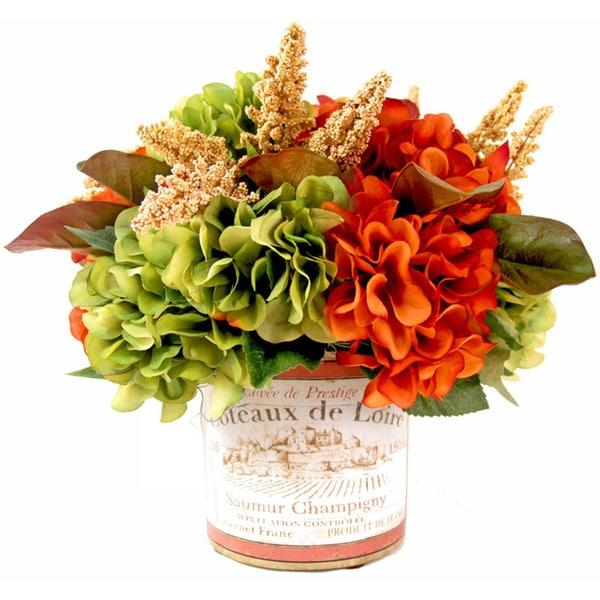 Orange/ Green Silk Hydrangea in Vineyard Pot