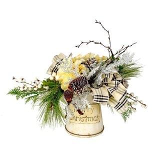 Merry Christmas Evergreen and Silk Hydrangea Bucket
