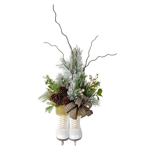 Ice Skate Faux Pine Floral Arrangement