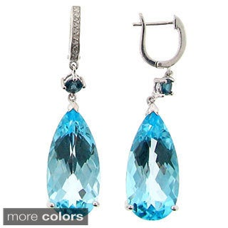 Meredith Leigh Sterling Silver Gemstone and Diamond Dangle Earrings