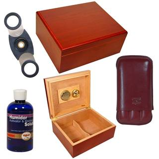 Complete Personal Humidor and Cigar Accessories Set