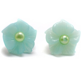 Jade Cultured Green Pearl Flower Earrings (4-5 mm)