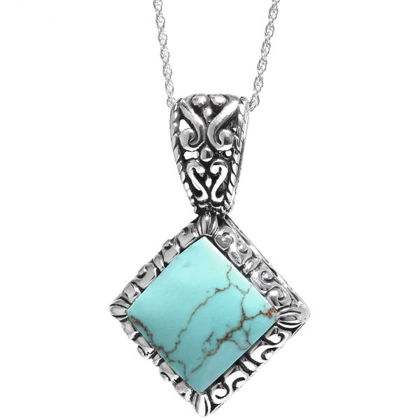 Sterling Silver Turquoise Triangle Diamond-shape Pendant with Filigree Motif and 18-inch Chain Necklace
