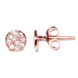 Rose Gold over Sterling Silver Round Circle Cubic Zirconia Stud Earrings with Post Backs and Butterfly Clasps