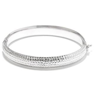Sterling Silver Diamond-cut Textured Hinged Bangle Bracelet