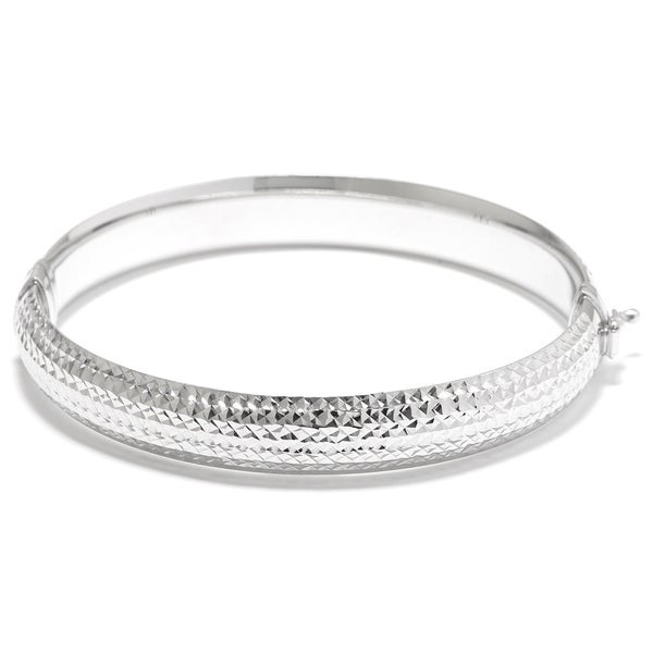 Sterling Silver Diamond-cut Textured Hinged Bangle Bracelet