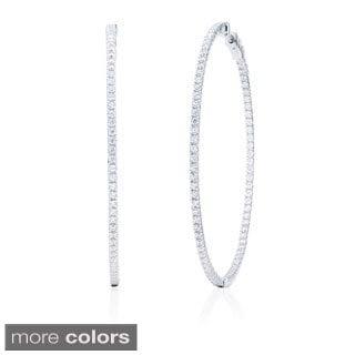 Blue Box Jewels Rhodium Plated 925 Sterling Silver Cubic Zirconia XXLarge Endless Hoop Earrings