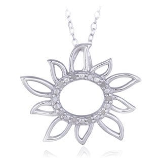 DB Designs Sterling Silver 1/10ct TDW Diamond Sun Necklace (I-J, I2-I3)