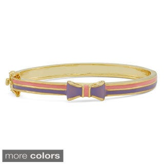 Gioelli Designs Junior Jewels Enamel Bow Ribbon Gold Overlay Bangle