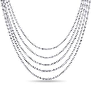 Miadora 18k White Gold 10 3/4ct TDW Diamond Tennis Necklace (G-H, SI1-SI2)
