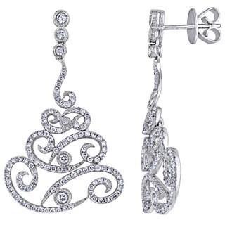 Shira Design 18k White Gold 1 1/3ct TDW Diamond Chandelier Earrings (G-H, SI1-SI2)
