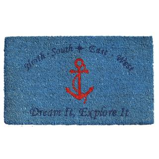 Red Anchor Coir with Vinyl Backing Doormat (1'5 x 2'5)