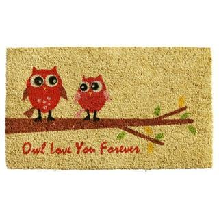 Owl Love Coir with Vinyl Backing Doormat (1'5 x 2'5)