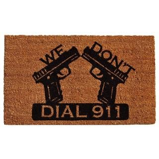 Dial 911 Coir with Vinyl Backing Doormat (1'5 x 2'5)