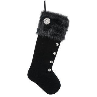 Velvet Stocking with Furry Top in Black Silver
