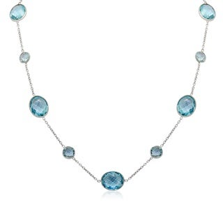 Gioelli Sterling Silver Blue Topaz Station Necklace