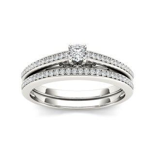 De Couer 10k White Gold 1/2ct TDW Diamond Solitaire Bridal Ring Set (H-I, I2)
