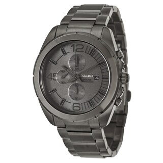 Seiko Men's SSC235 Solar Grey Dial Gunmetal Chronograph Watch