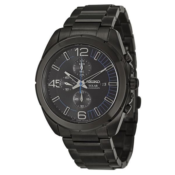 Seiko Men's SSC203 Chronograph Solar Black Ion-finished Stainless Steel Watch