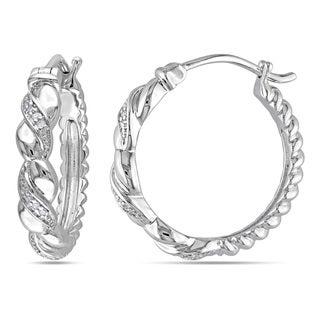 Haylee Jewels Sterling Silver Diamond Accent Twisted Hoop Earrings