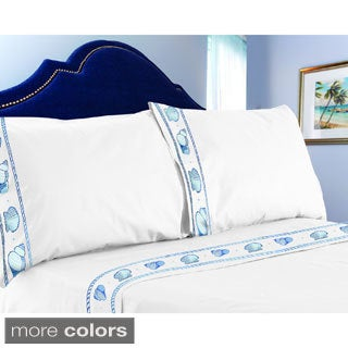Shell Embroidered 300 Thread Count Sheet Set