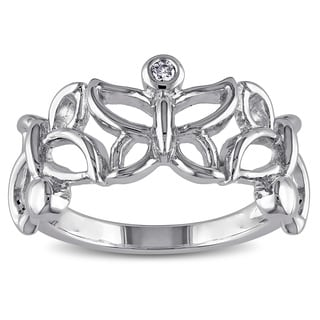 Haylee Jewels Sterling Silver Diamond Accent Butterfly Ring