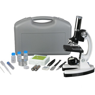AmScope 48-piece Metal Arm Educational Beginner Biological Microscope Kit