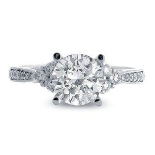 14k White Gold 1 1/3ct TDW Round-cut Center Diamond Engagement Ring (G-H, SI1-SI2)