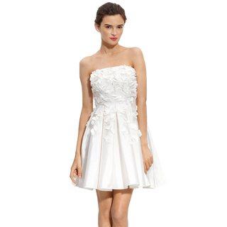 Calvin Klein White Petal Strapless Cocktail Dress
