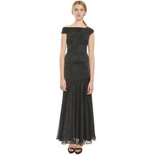 Tadashi Shoji Pewter Metallic Tulle Formal Evening Gown