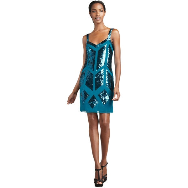Aidan Mattox Turquoise Sequin Sleeveless Cocktail Dress