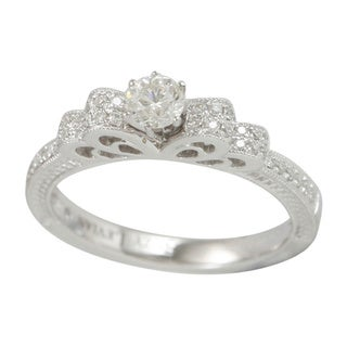 Suzy Levian 18k White Gold .511ct TDW Diamond Halo Engagement Ring (I-J, SI1-SI2)