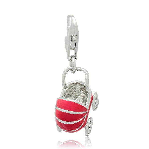 Gioelli Sterling Silver and Enamel Baby Buggy Charm