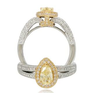 Suzy Levian 18k Two-Tone Gold 1.28ct TDW Pear Cut Diamond Halo Ring