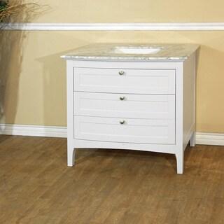 36-inch Single White Sink Vanity - White Carrara Marble