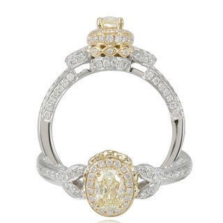 Suzy Levian 18k Gold 1ct TDW Certified Yellow/ White Diamond Ring (G-H, SI1-SI2)