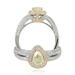 Suzy Levian 18k Gold 1 1/5ct TDW Yellow and White Diamond Ring (F-G, SI1-SI2)