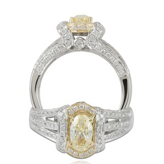 Suzy Levian 18k Two-tone Gold 1 1/2ct TDW Oval-cut Yellow Diamond Ring (G-H, SI1-SI2)