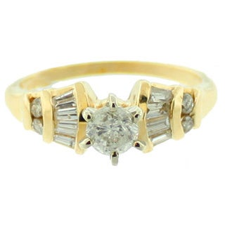 Suzy Levian 14k Yellow Gold 7/8ct TDW Diamond Estate Engagement Ring (J-K, I1-I2)