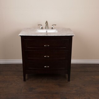 36-inch Single Sink Vanity with Sable Walnut Finish - White Carrara Marble