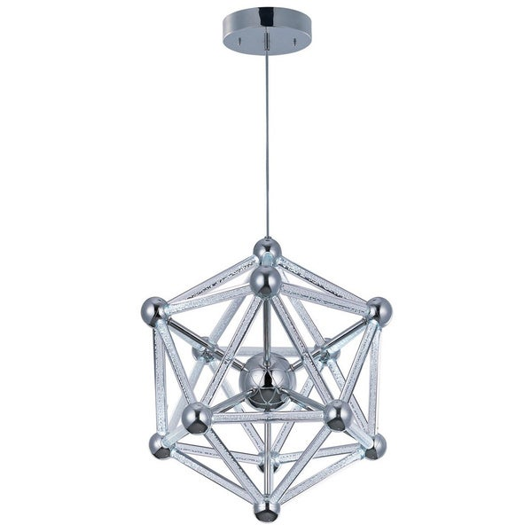 Polygon Chrome 60-light Acrylic Single Pendant